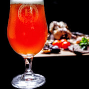 beer glass and food